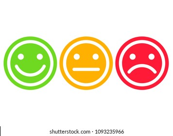 Different smiley faces. Yes, No, Maybe. Red, green and yellow color. Vector illustration.