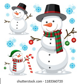 different snowman on white template illustration