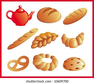Different sorts of  vector bread
