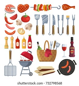 Different special tools and food for barbecue party. Grilled vegetables, meat, steak and sausage. Bbq grill and food grilled, tools and vegetables illustration