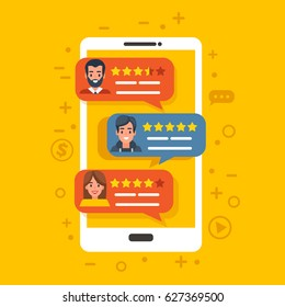 Different specialists with rating from customers on smartphone screen. Vector Feedback concept illustration. Can use for web banner, poster.