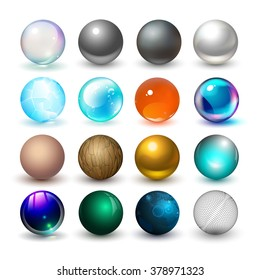 Different spheres. Materials and design elements.