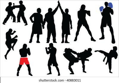 Different sport fighting silhouettes vector