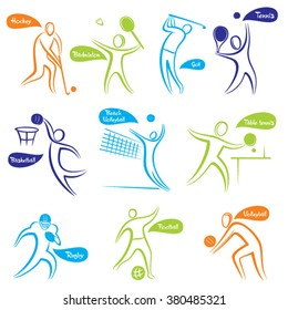 different sport like hockey, basketball, volleyball, badminton ,rugby, table tennis and golf design vector