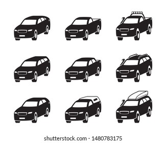 Different Sport utility vehicles in perspective - vector illustration