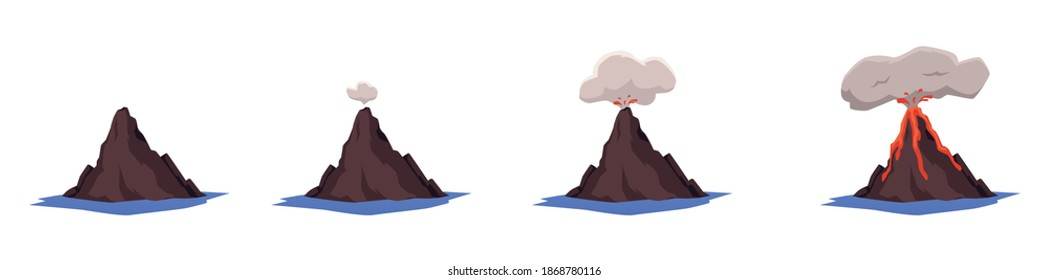 Different stages of volcano eruption icons set of flat vector illustrations isolated on white background. Sleeping and active volcanoes with flame and smoke.
