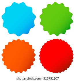 Different starburst / sunburst badges, shapes in 4 color