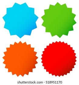 Different starburst / sunburst badges, shapes in 4 color