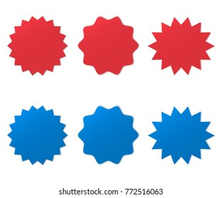 Different starburst. Sunburst badges vector illustration set. Red and blue starburst.