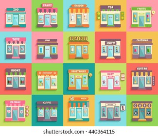 Different stores and shops  icons set flat design style. Zoo, toys, baby, minimarket and guitar stall. Vector eps 10 format.