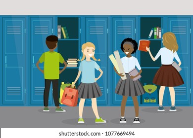 Different students teenagers in school hall,Open and closed school lockers,school interior and furniture, flat vector illustration
