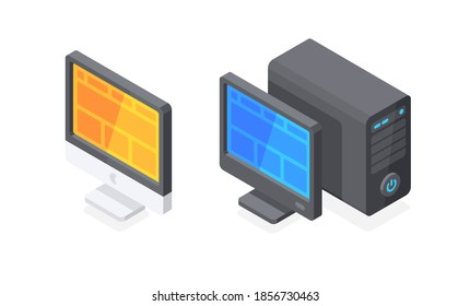 Different style computers. Desktop monitors with system case. Flat 3d vector isometric illustration isolated on white background.