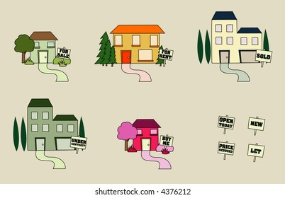 Different style houses with property signs