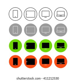Different style trendy interface vector icons set