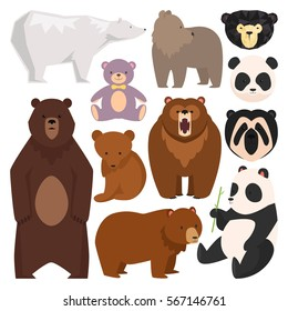 Different style wild bears vector illustration. Cute, angry and toys furry bear cartoon character different pose and breeds .