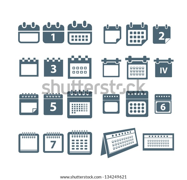 Different Styles Calendar Web Icons Collection Stock Vector