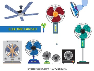 Different styles and designs of a Household Electric stand fan to mini desktop to box typse with led lights and ceiling fans. Editable Clip Art.