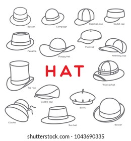 Different styles of Hat are created as icon on white background.