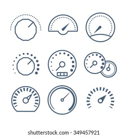 Different styles of measure tools, speedometer, and volume control vector collection