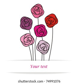 different stylized roses with space for your text