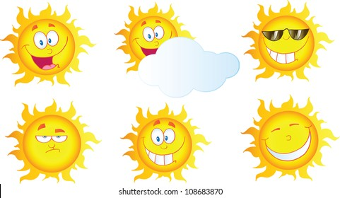 Different Sun Cartoon Mascot Characters .Vector Collection