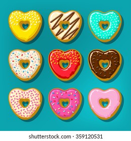 Different sweet donuts. Cute and bright set of donuts in shape of heart. Flat design, vector illustration
