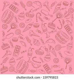 a lot of different sweets on a pink background