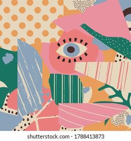 Verschiedene Texturen und Formen künstlerische Vektorgrafik Collage. Farbige abstrakte Grafikdesign-Kunstwerke, kreativer Hintergrund für Banner, Broschüren, Karten, Einladung, Flyer, Plakat, Bericht
