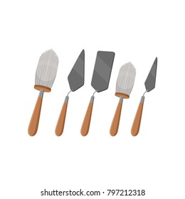 Different tools for archeology excavations. Big and small brush, three various trowels from stainless steel. Instruments with wooden handles. Flat vector design