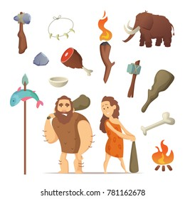 Different tools from prehistoric period. Primitive old weapons for caveman. Primitive neanderthal hammer with weapon illustration