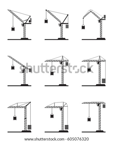 Different Tower Cranes Vector Illustration Image vectorielle