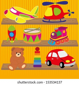 different toys on special yellow lines background