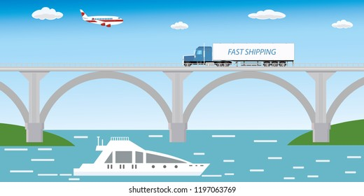 Different transport - long truck on bridge,aircraft in sky and boat on water,flat vector illustration
