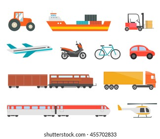 Different transport vehicles icons set. With tractor, moto?cycle, bicycle, plane, helicopter, train, wagon, car, truck, vector illustration