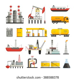 Different transports constructions and factories of oil petrol industry flat icons set isolated vector illustrations