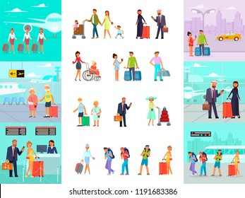 Different travelers characters with luggage in airport. Set of man, woman, friends, family with kid passengers and stewardess in flat cartoon style isolated on white. Vector illustration eps 10