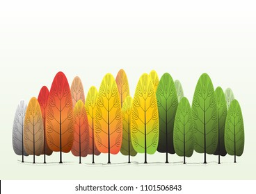 Different tree in season changes