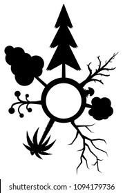 Different trees silhouettes circle symbol stencil black, vector illustration, vertical, over white, isolated