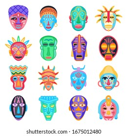 Different tribal ethnic masks set. African design elements, decoration. Isolated icons collection. Vector illustration