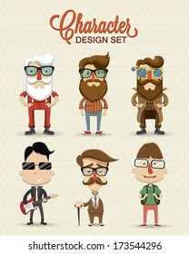Different type of character illustration