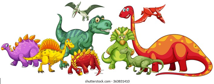 Different type of dinosaurs in group illustration