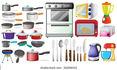 Different type of kitchen objects and electronic devices