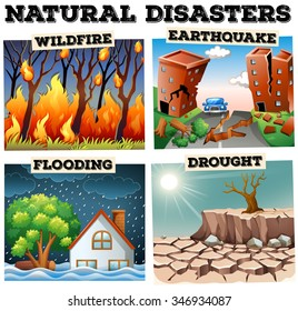 Different type of natural disasters illustration