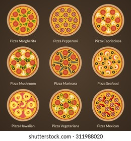 Different type of pizza flat icons vector set. Appetizing pizza with different toppings