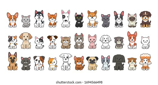 Different type of vector cartoon cats and dogs for design.