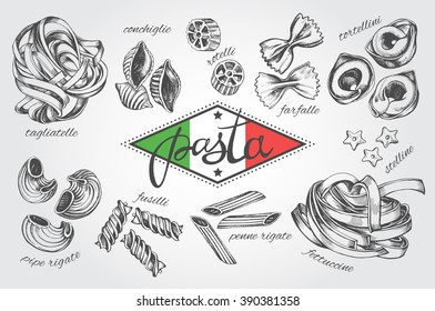 Different types of authentic Italian pasta. Hand drawn set. Vector illustration in vintage style. Menu or signboard template for restaurant.