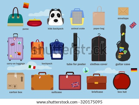 Different Types Baggage Bags Cases Suitcases Stock Vector Royalty