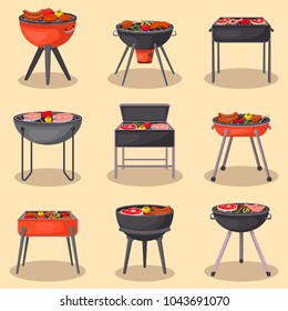 Different types barbecue grills isolated set. Charcoal kettle grills with assorted delicious grilled meat and vegetables vector illustration. BBQ party, traditional cooking food, restaurant menu icons