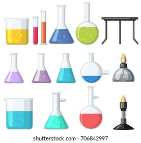 Different types of beakers and burners illustration