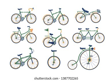 Different types of bicycles set vector illustration. Collection of various bikes, modern, traditional, sport, extreme flat style concept. Vintage and modern cycles. Isolated on white